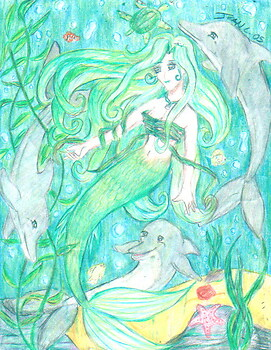 A mermaid with dolphins