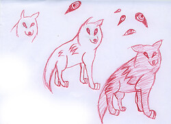 !Red penned wolves!