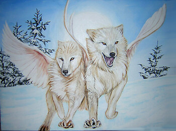 Arctic Flight Wolfies painting commission