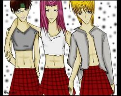 Gojyo, Hakkai, Sanzo in GIRL school uniforms!!!!