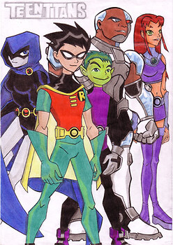 Teen Titans group (coloured)