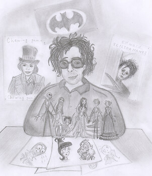 Tim Burton with his works