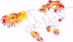 Fire Unicorn Sketch