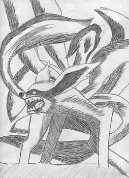 Nine tailed fox demon (inked)