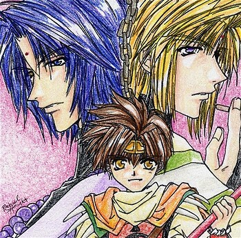 Sanzo, Homura, and Goku