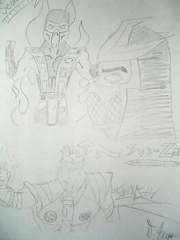 Mortal Kombat Collage- Scorpion, Sub-Zero, Kenshi