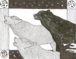 Wolves Pen and Ink