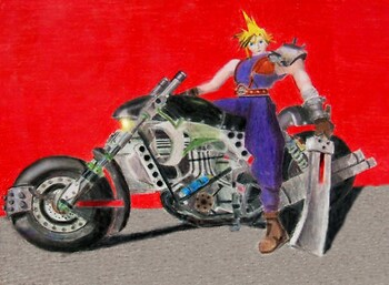 Cloud on his bike