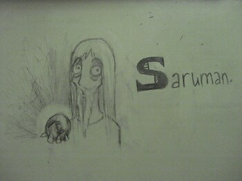 Desk Graffiti: Saruman!