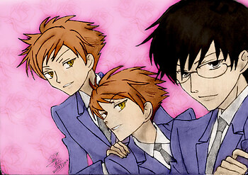Hitachiin twins and Kyouya colored