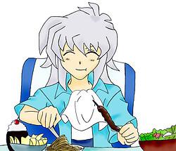 Ryou Bakura Eats Food in Colour