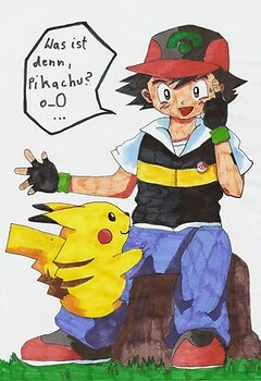 Ash and his strange Pikachu