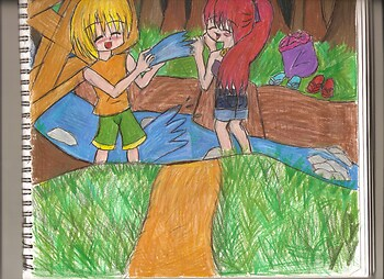 Taru and Kiara in the creak