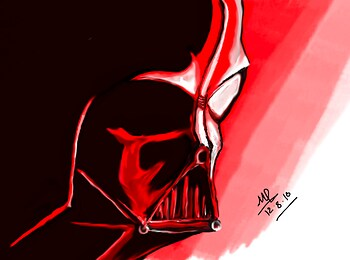 Dart Vader basked in Red