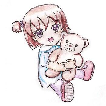 Chibi kiddo with a cuddly bear!