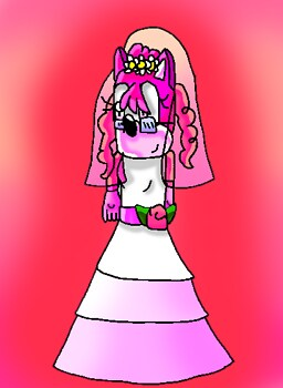 Pinky in a wedding dress!