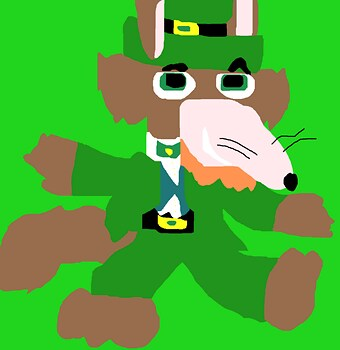 Mildew Wolf Decked Out In St Patrick Day Garbs Dancing Ms Paint