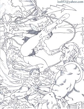 Mongul Battles Superman, Wonder Woman & Batman (outline)