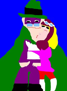 Penelope Pitstop Surprises Hooded Claw With A Kiss MS Paint^^