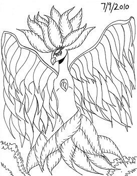 Blue Phoenix line drawing version