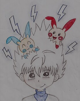 Killua with Plusle and Minun