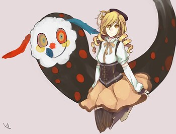 Mami Tomoe and Charlotte, the witch of sweets
