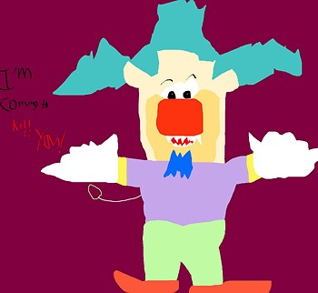 Creepy Talking Krusty Says He's Coming To Kill You MS Paint
