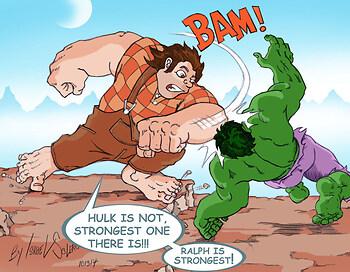 Wreck it Ralph vs. Hulk (Colored)