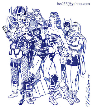 Thor draws the attention of Big Barda, Black Canary, Wonder Woman, Batgirl