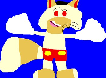 The Big Cheese In Mickey Mouse Shorts And Gloves MS Paint