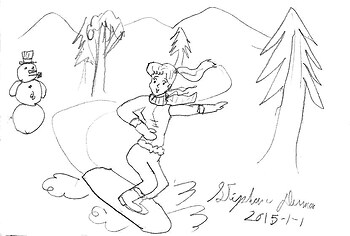 Lita snowboarding