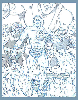 Sub-Mariner with The Thing, Giant Man & Triton vs, The Human Torch