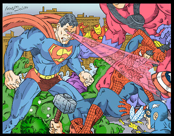 Superman Destroys Spiderman, takes down Hulk & the Avengers (clr)