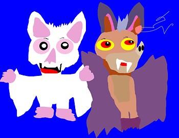 A Slightly Anthro Styled Batty Koda And Bartok Chibis MS Paint