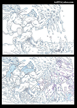 Hulk/Submariner vs. Thor & The Avengers (pencil)