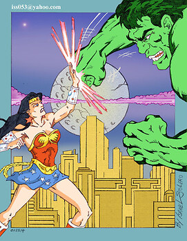 Wonder Woman confronts The Hulk (clr)