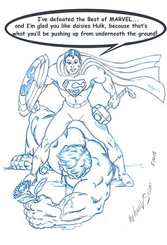 Superman Takes down Marvel Icons & Hulk (pencil)