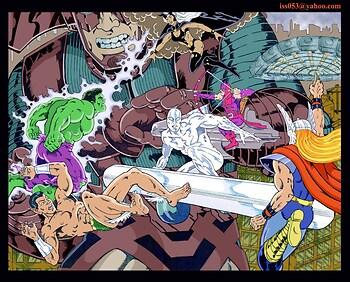 Galactus, Silver Surfer & Storm vs. Avengers (clr)
