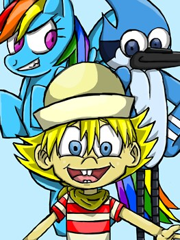Rainbow Dash, Flapjack and Mordecai
