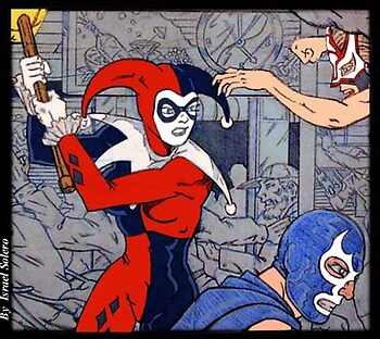 Harley Quinn attacks Blue Demon (panel)