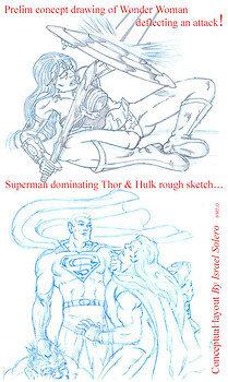 Wonder Woman & Superman (pencil)