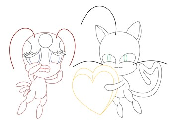 Tikki and Plagg lineart