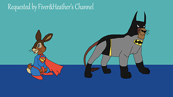 Fiver as Superman and Kovu as Batman