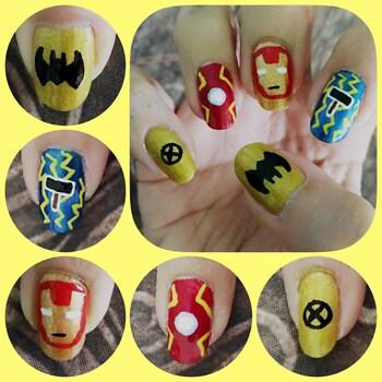 Super Hero Nail Art right