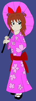 Sakura wearing a Kimono colored