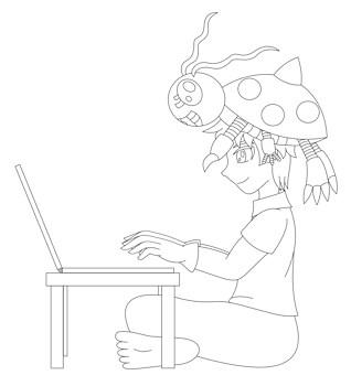 Izzy Tentomon Digimon lineart