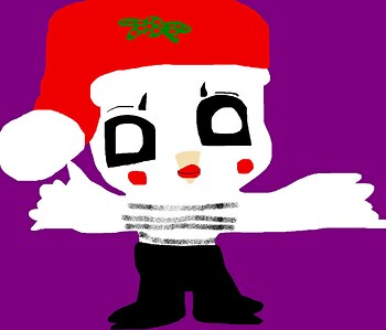 Extremely Cute Chibi Mime Bird Santa Hat Version MS Paint
