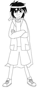 Hiro wearing a Japanese Bandana and Cape