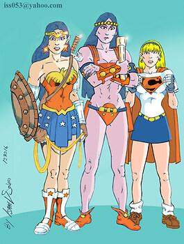 Wonder Woman, Big Barda & Supergirl (colorl)