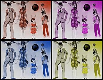 1960's Rabbit Family Pop Art